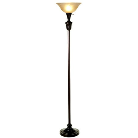 "72"" Oil Rubbed Bronze Torchiere Floor Lamp with Glass Lamp Shade"