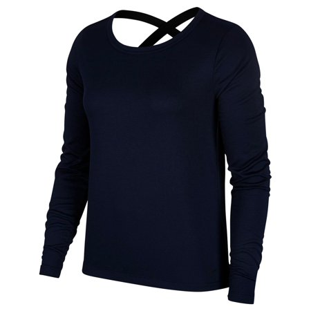 Nike Womens Fitness Active Wear Pullover Top Navy XS
