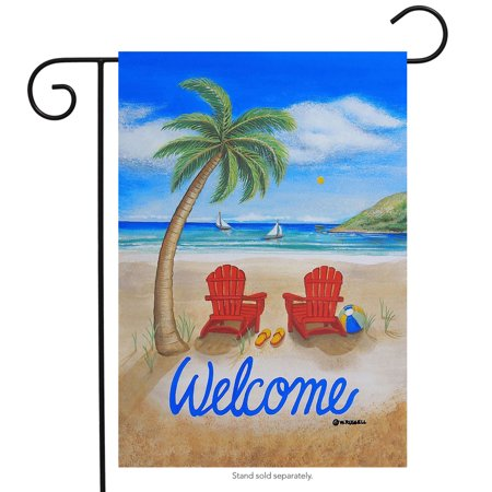 Beach Summer Garden Flag Adirondack Chairs Palm Tree Tropical 12.5