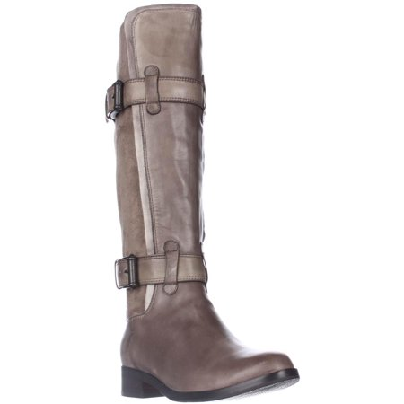 Womens Cole Haan Air Whitley Buckled Pull Up Riding Boots, Greige, 5.5 US