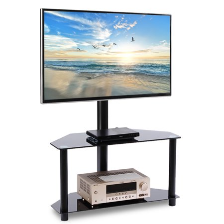 "Rfiver Corner Floor TV Stand with Swivel Mount Bracket for TVs up to 55"" TV Stands for 2-Shelf Black Finish Tempered Glass Base TW2001"