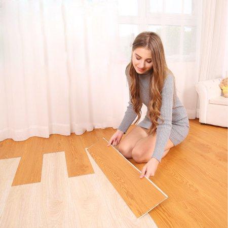 Self Adhesive 6 Tile Art DIY Wood Floor Wall Sticker Kitchen Living Room - Diy Wood Wall Art