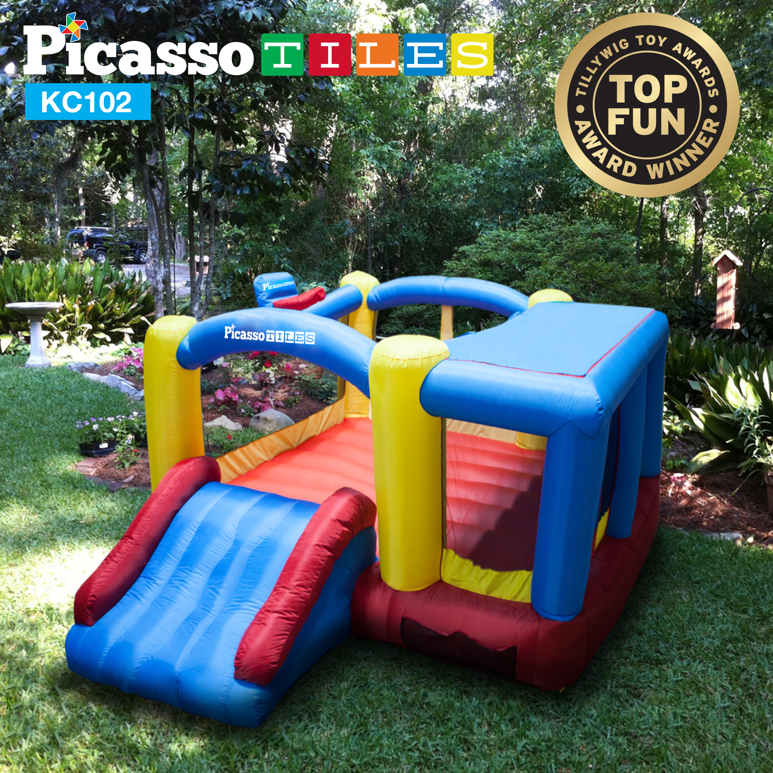 [Upgrade Version] PicassoTiles KC102 12' x 10' Inflatable Bouncer Jumping House, Slide and Dunk Playhouse Feature Basketball Rim, 4 Sports Balls, Extended Slider, Full Size Entry and Quick Setup