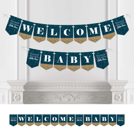 twinkle twinkle little star - baby shower bunting banner - blue party decorations - welcome baby - Welcome Baby