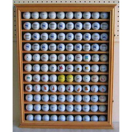 - 110 Golf Ball Display Case Wall Cabinet Holder, UV Protection door, Solid Wood (Oak Finish)