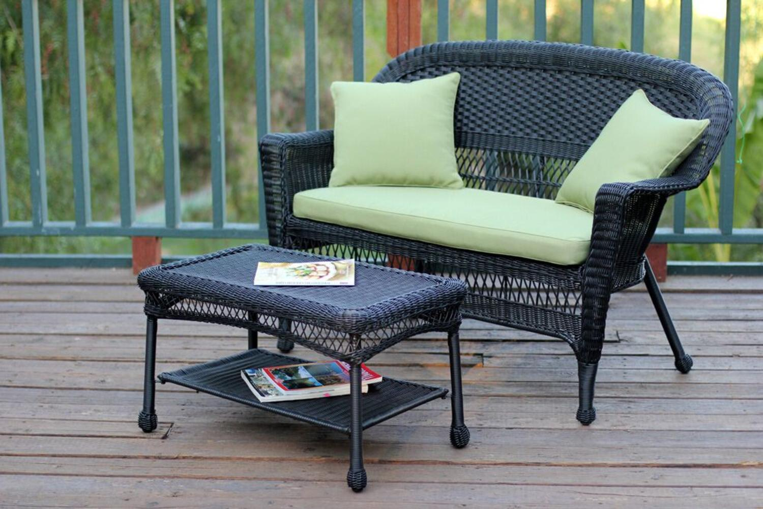 2-Piece Oswald Black Resin Wicker Patio Loveseat and Coffee Table Set Green Cushion by CC Outdoor Living