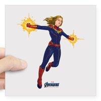 "CafePress - Captain Marvel Avengers E Square Sticker 3 X 3 - Square Sticker 3"" x 3"""
