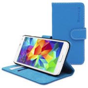 Snugg Electric Blue Leather Galaxy S5 Flip Case Cover