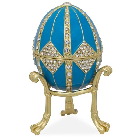 - Crystal Rhombus on Blue Enamel Royal Inspired Russian Egg 3.15 Inches