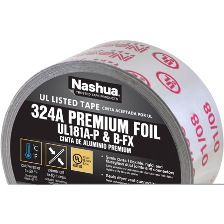 "Nashua Premium Foil Tape, 2.5"" x 60 yd, UL Listed"