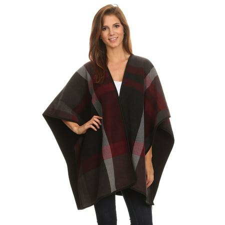 Women's Deluxe Reversible Plaid/Solid Winter Fleece Blanket Poncho With Trim - Black and Maroon Plaid (Womens Reversible Fleece)