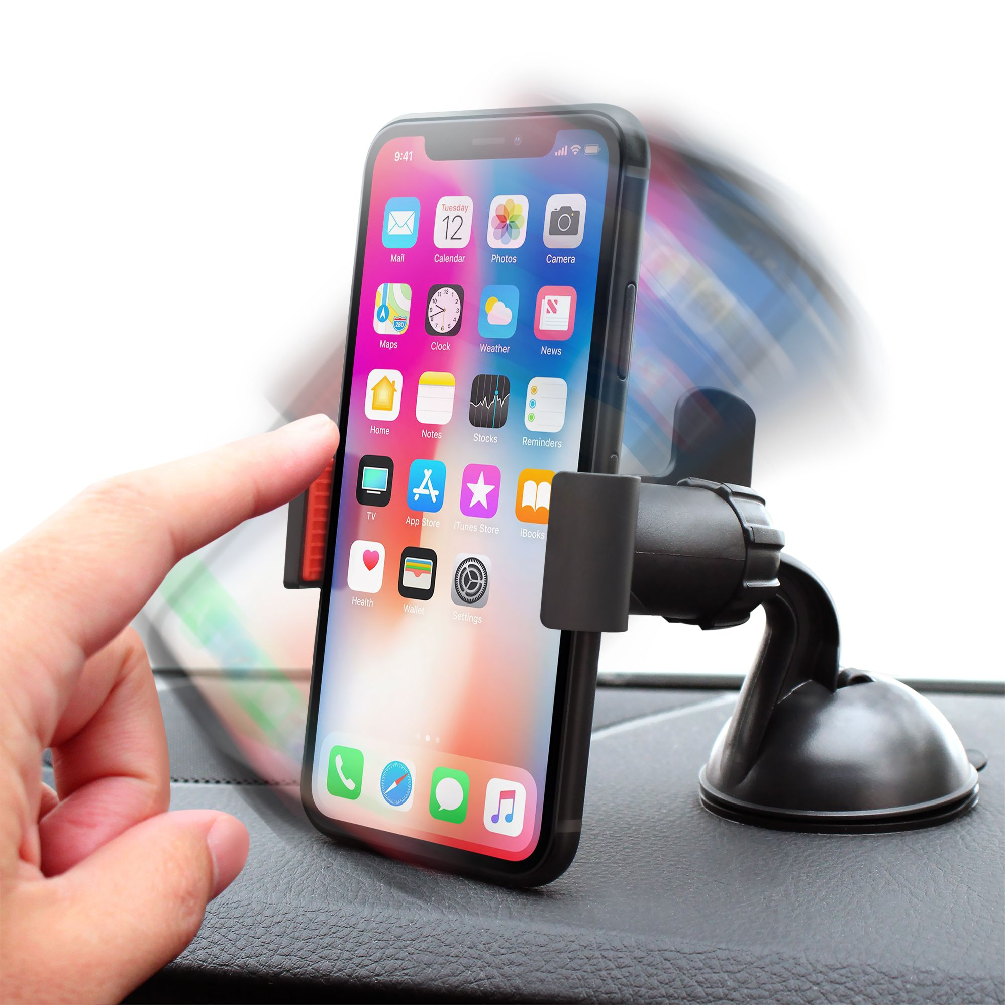 Insten Car Windshield Cell Phone Holder Car Mount Bracket for iPhone XS Max XR XS X 7 8 Plus SE 6s 6 iPod Touch 6th Samsung Galaxy S9 S9+ S10 S10e S8 S7 S6 Plus Edge Note 8 J7 J3 ZTE LG G6 V30 Stylo 4