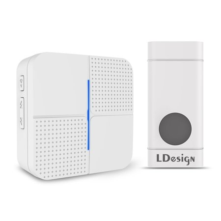 Wireless Doorbell, Portable door chime with 1 Plug-In Receiver & 1 Push Button