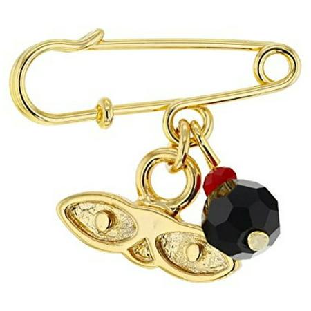 14kt Gold Plated Eyes Saint Lucky Charm Azabache Protection Baby Pin Brooch - Ojitos De Santa Lucia Azabache Para (14k Pin Brooch)