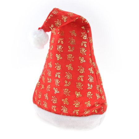 Unique Bargains Xmas White Pom-pom Top Gold Tone Powder Bell Printed Red Santa Claus Hat