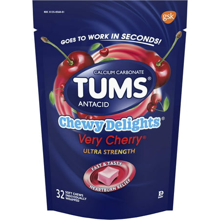 (2 Pack) Tums antacid, chewy delights very cherry ultra strength soft chews for heartburn relief, 32 antacid