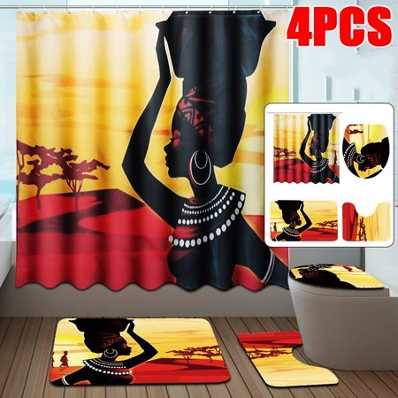 Bath Shower Curtains Exotic Customs African Girl Fabric Shower Curtain With Accessories OR 3pcs Toilet Cover Mats Non-Slip Rugs Home Decor ()