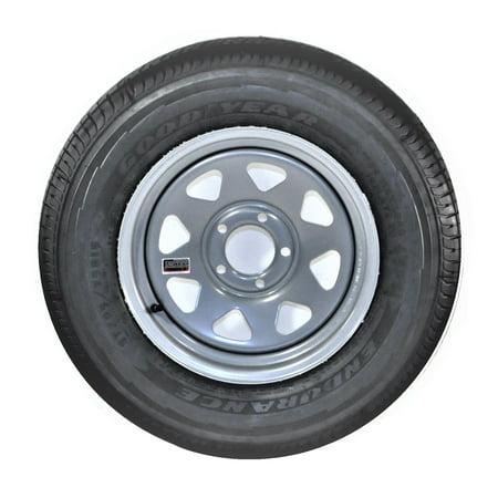 2-Pack Goodyear Endurance Trailer Tire On Rim ST205/75R15D 5-4.5 Silver Spoke