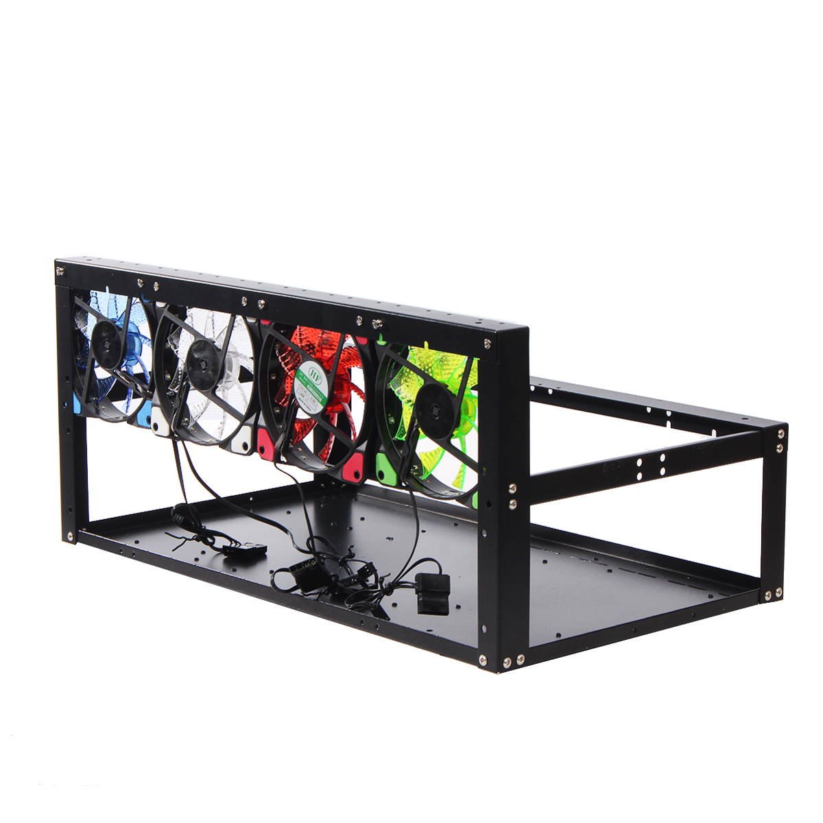 For ETH ZEC/Bitcoin 6GPU Mining Rig Case Open Air Mining Frame + 4 Color LED Fan
