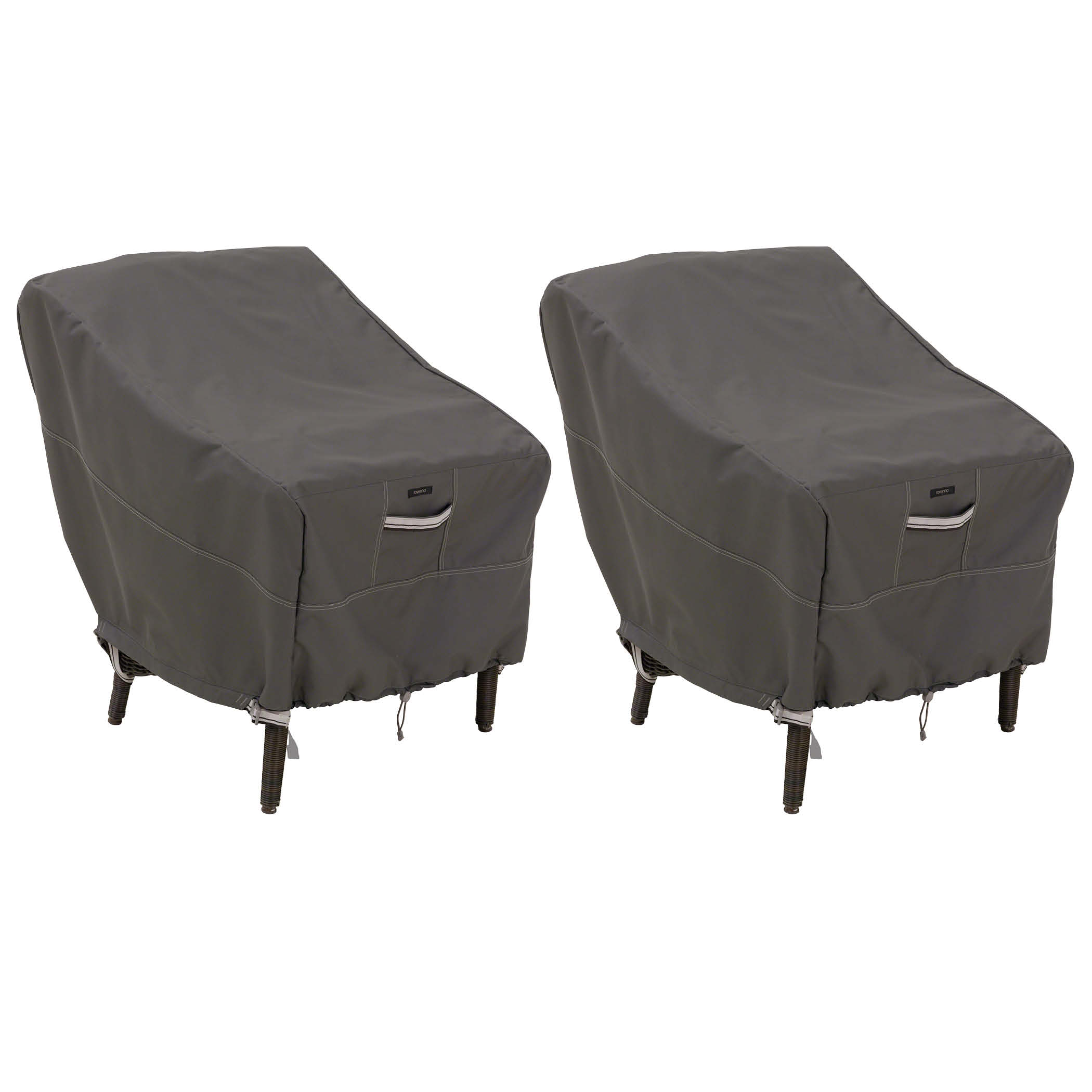 Classic Accessories Ravenna Standard Dining Patio Chair Cover - Premium Outdoor Furniture Cover with Durable and Water Resistant Fabric, 2-Pack