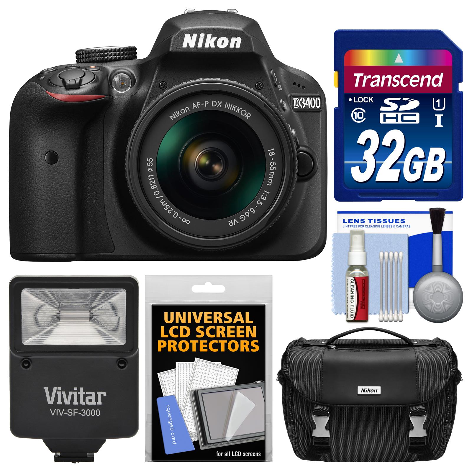 Nikon D3400 Digital SLR Camera & 18-55mm VR DX AF-P Zoom Lens (Black) - Refurbished with 32GB Card + Case + Flash + Kit