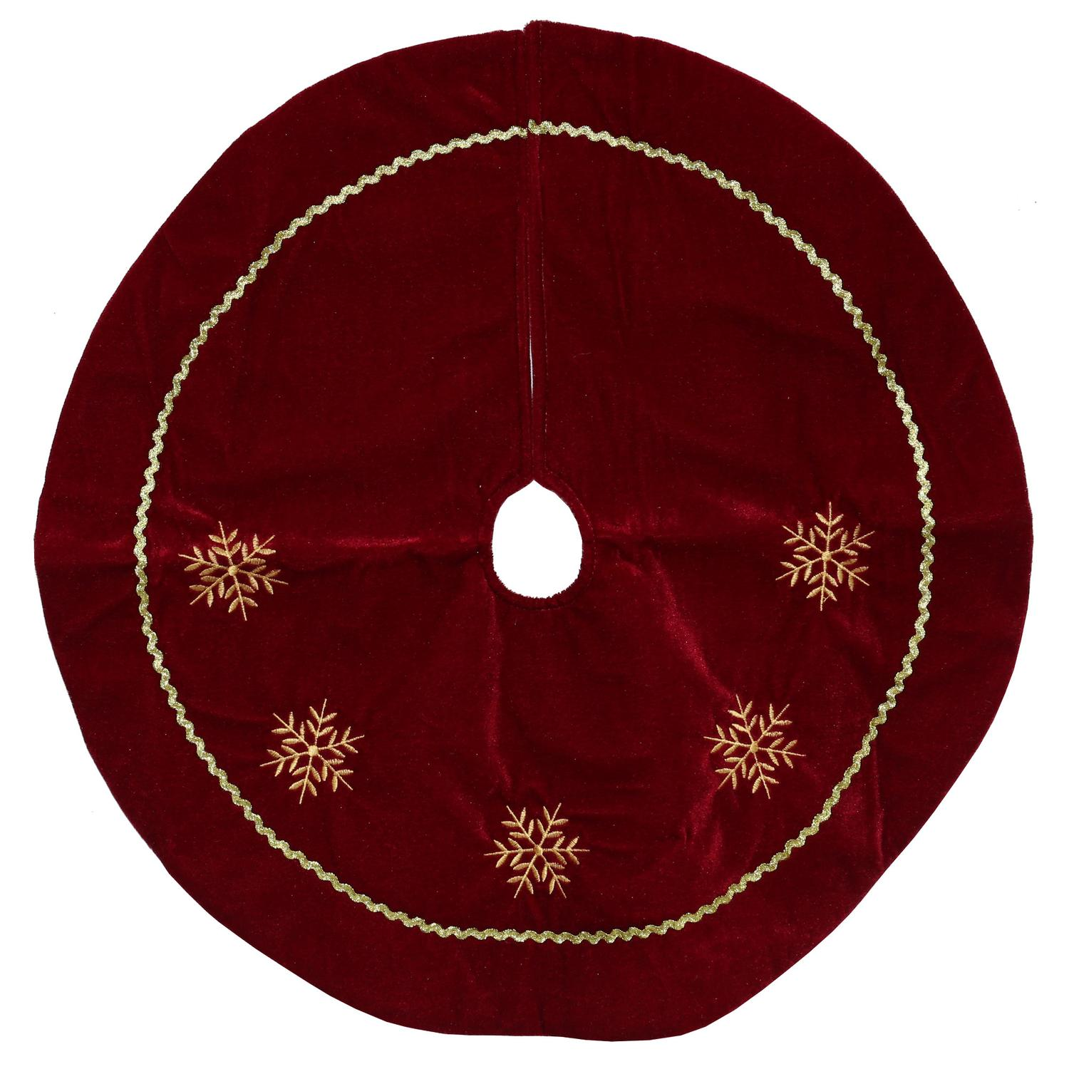 "24"" Burgundy Velvety Christmas Tree Skirt with Gold Embroidered Snowflakes"