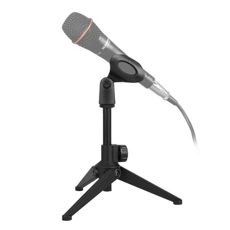 TSV Universal Adjustable Desk Microphone Stand Portable Foldable Tripod MIC Tabletop Stand with Small Plastic Microphone