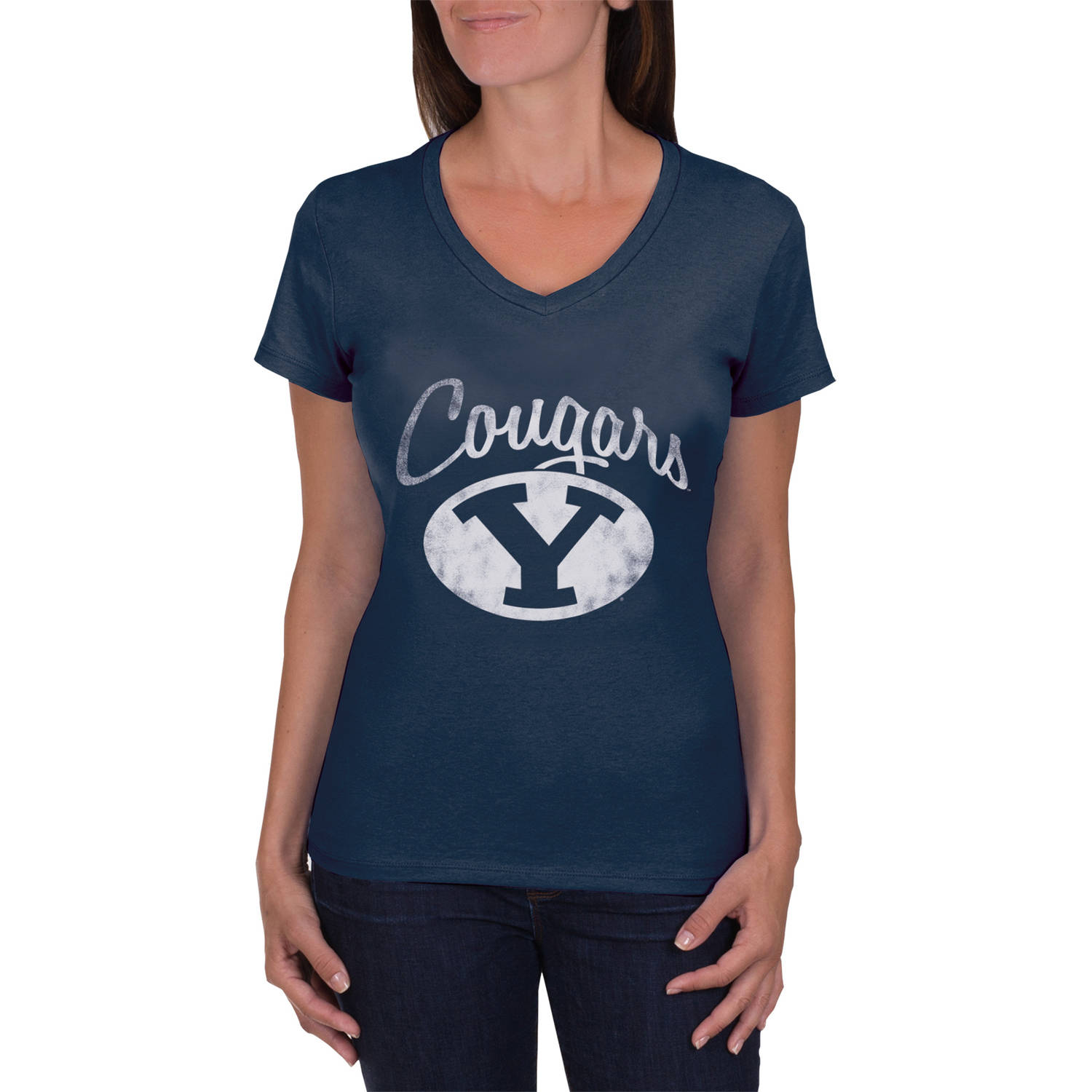 NCAA BYU Cougars Women's V-Neck Tunic Cotton Tee Shirt
