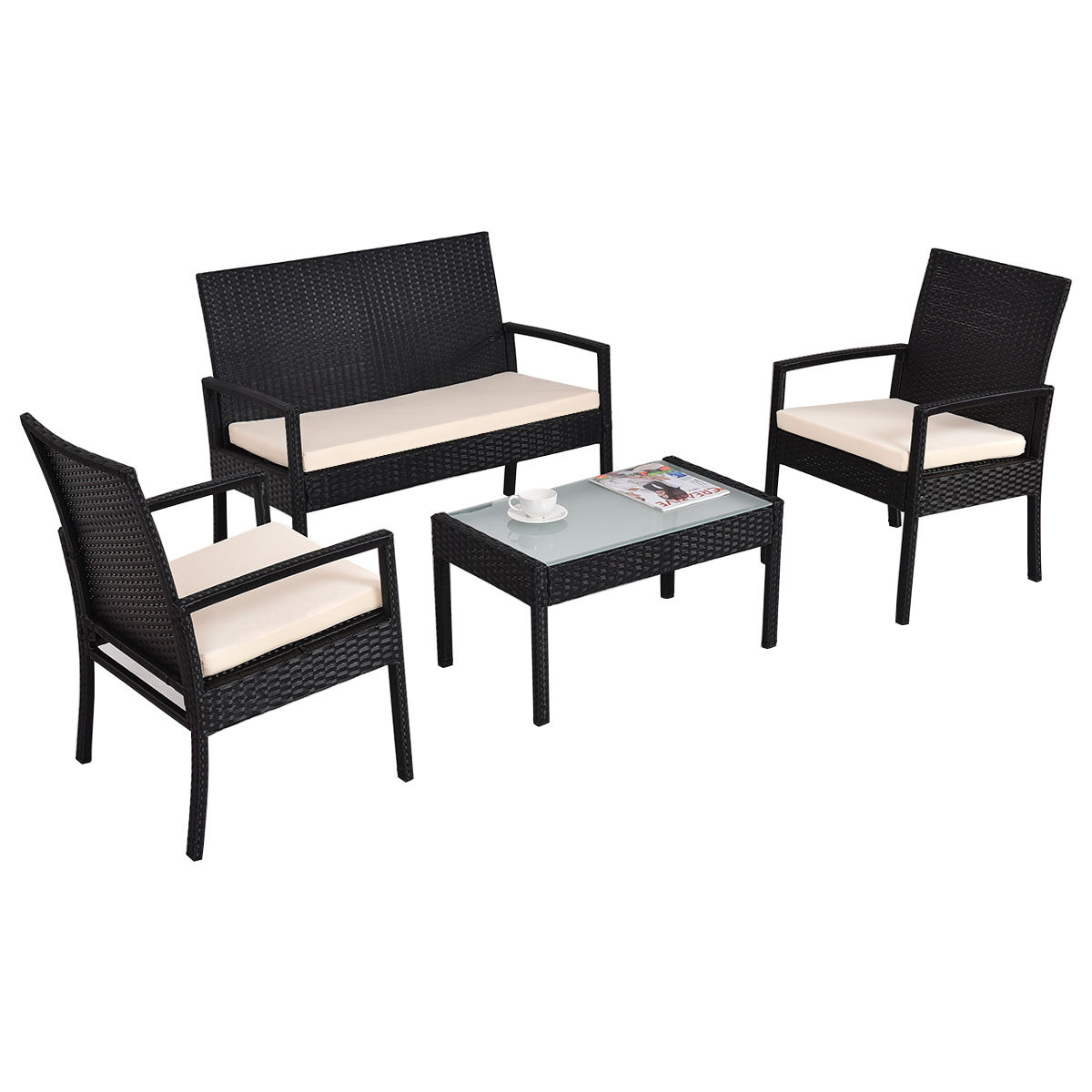 Costway 4 PCS Outdoor Patio Furniture Set Table Chair Sofa Cushioned Seat Garden by Patio Sets