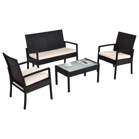 Costway 4 Pcs Outdoor Patio Furniture Set Table Chair Sofa Cushioned Seat Garden