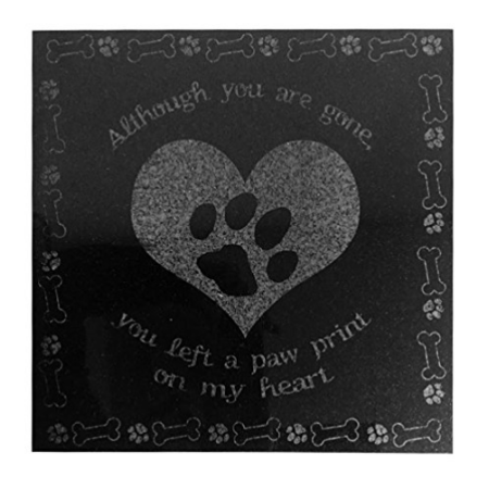 3D Laser Engraved Black Granite Stone Pet Memorial Marker 12 x 12 inches (Paw Print on Heart)