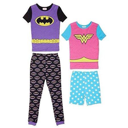 421aec0681697 DC - Komar Kids Girls' 4 Piece Pajamas Sleepwear Set with Shorts and Pants,  Batgirl Wonder Woman Purple Turquoise, Size: 4T - Walmart.com