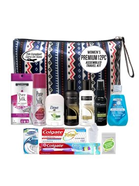 Convenience Kits International, Women's TRESemme Premium 12 PC Assembled Travel Kit, TSA Compliant, in Reusable Toiletry Zippered Bag w/ Handle, Featuring TRESemme: Shampoo-Conditioner-Hair Spray