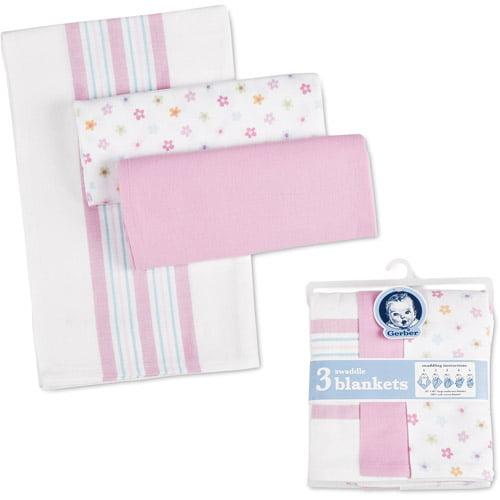 Gerber - Swaddle Blankets, 3-Pack, Pink