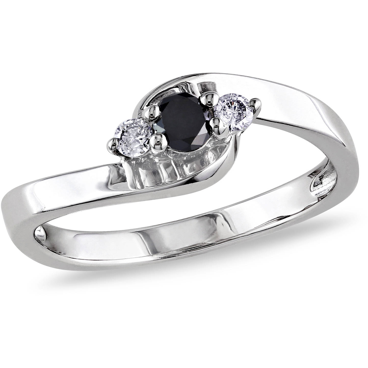 1/4 Carat T.W. Black and White Diamond Sterling Silver Bypass Promise Ring