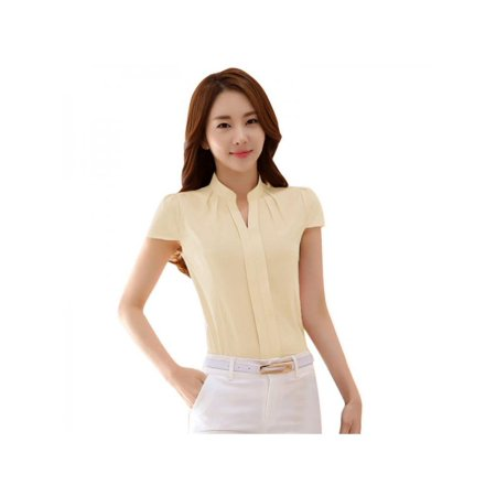 Nicesee Womens V Neck Stand Collar Short Sleeve Office Shirts Blouse