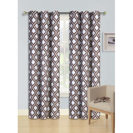 F1 BROWN 1-PC Printed BLACKOUT Room Darkening Grommet Window Curtain Treatment, Insulated Round Diamond Panel 37