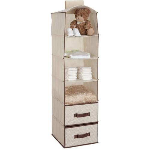 Delta Children  Shelf Hanging Storage Unit With  Drawers Beige