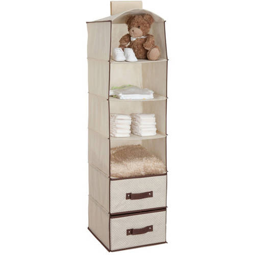 Delta Children 6 Shelf Hanging Storage Unit With 2 Drawers, Beige
