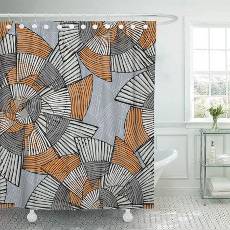 PKNMT Striped Pinwheels Big Gray and Orange with Ink Creative Repainting Geometric Bathroom Shower Curtains 60x72 inch ()