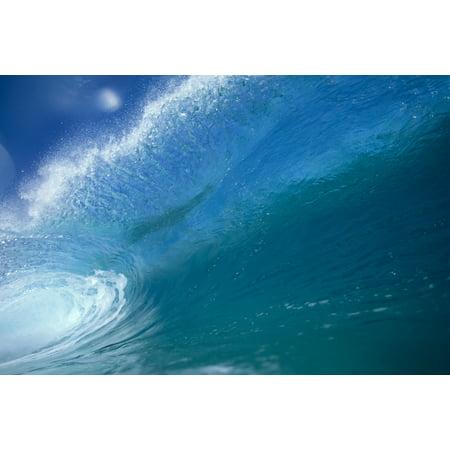 - Front View Of Aqua Wave Tube Blue Sky Glassy And Flat Canvas Art - Vince Cavataio  Design Pics (38 x 24)