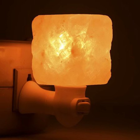 Natural Wood Base - Exquisite Square Mosaic Natural Rock Salt Himalaya Salt Lamp Air Purifier with Wood Base Amber