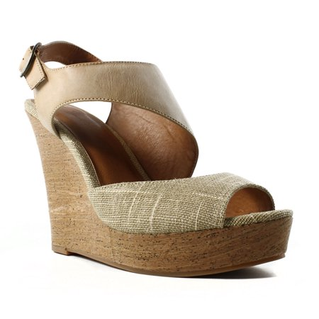 BC Footwear Womens Chihuahua Natural/Tan Slingbacks Size 9 ()