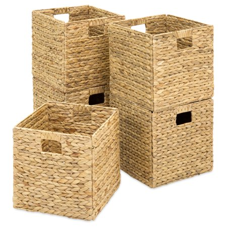 Natural Woven Baskets - Best Choice Products Set of 5 Foldable Handmade Hyacinth Storage Baskets w/ Iron Wire Frame - Natural