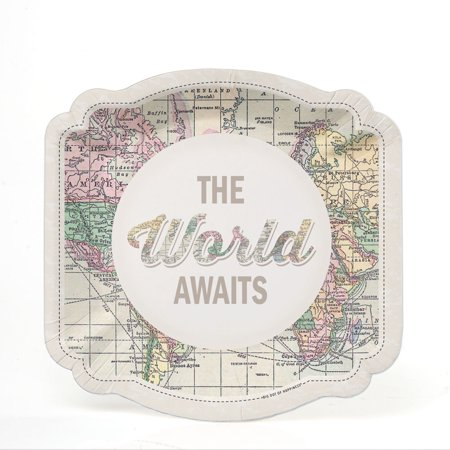 World Awaits - Travel Themed Party Dessert Plates (16 Count) - Nautical Themed Plates
