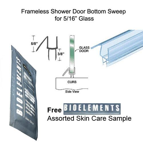 Frameless Shower Door Seal 5//16 Glass Bottom//Sweep