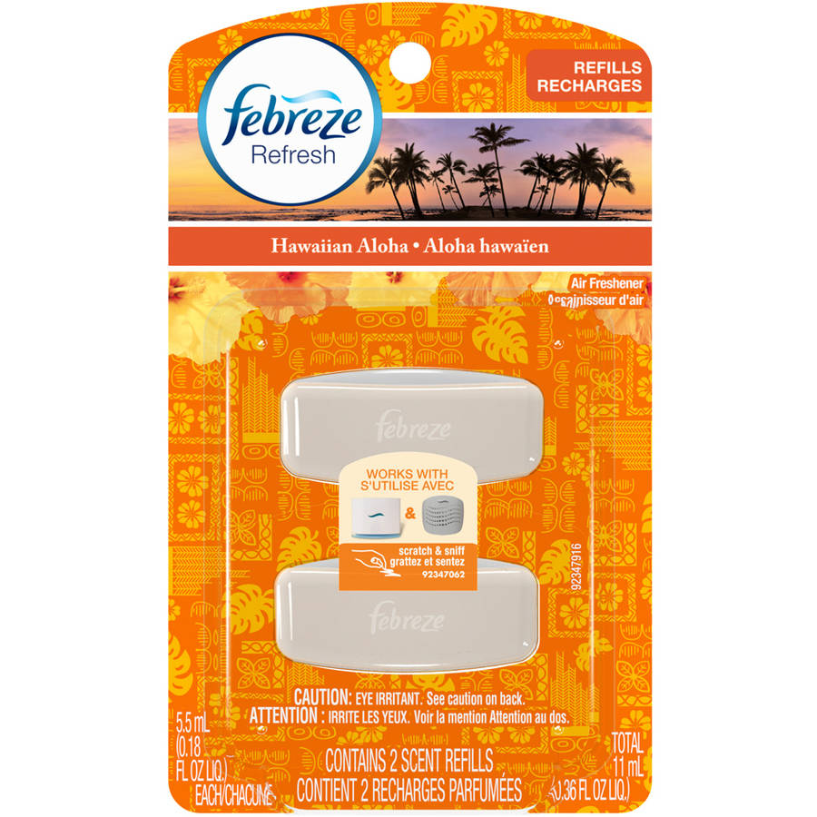Febreze SmallSpaces Hawaiian Aloha Air Freshener Refills, 0.18 fl oz, 2 count
