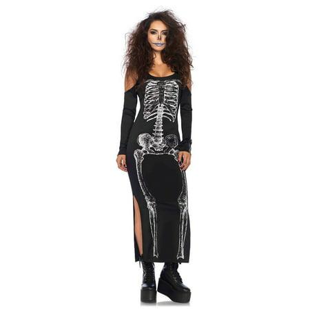 Skeleton Cold Shoulder Dress - Skeleton Fancy Dress Makeup