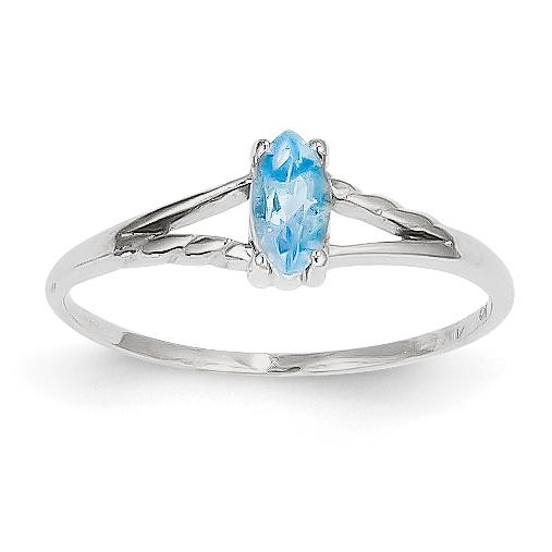 14k White Gold White Blue Topaz Birthstone Ring by