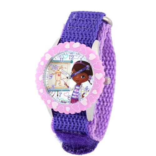 Disney Doc McStuffins Girls' Stainless Steel Case with Bezel Watch, Purple Nylon Strap